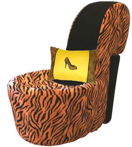 Fun Shoe Pillow On Leapard Shoe Chair ...