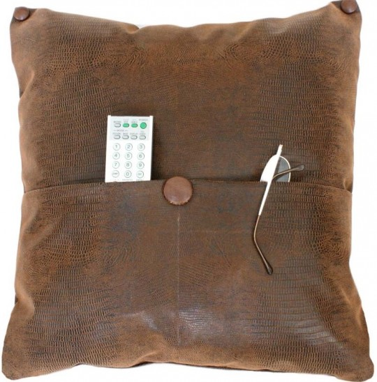 Pocket Pillow in Faux Brown leather