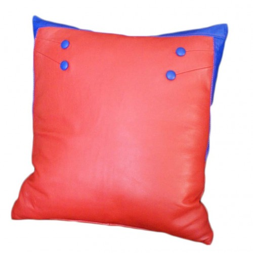 Red leather pillow decor