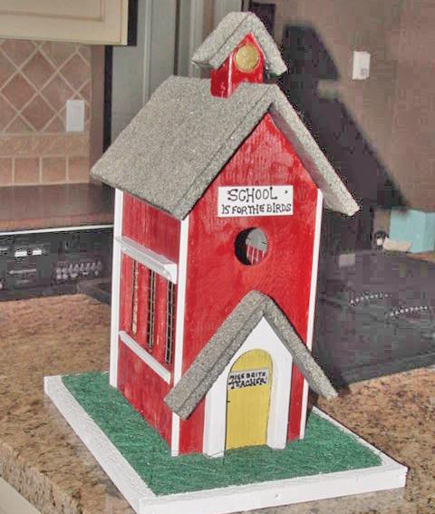 School Birdhouse by PillowThrowDecor