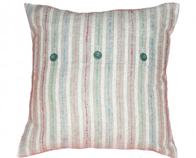 Casual striped button pillow
