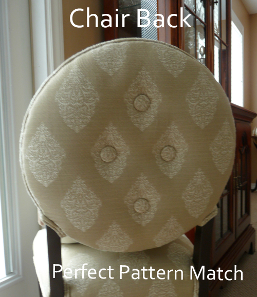 Round chair back patern matched