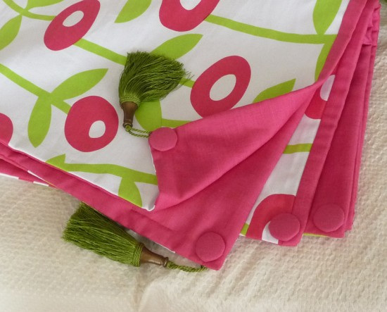 Pink Green Floral Custom Throw Set