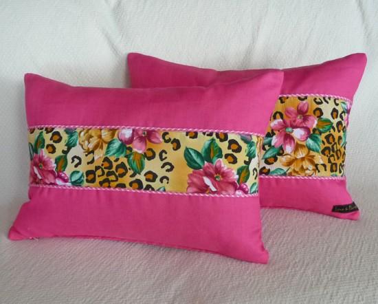 rectangle hot pink pillows