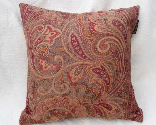 Paisley pillow in autum reds and greens