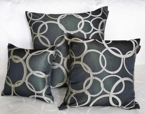 black and silver pillow