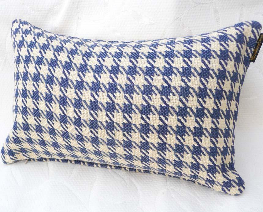 Blue Houndstooth Lumbar Pillow