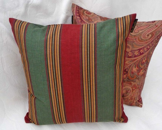 Striped pillow in autumn red and green