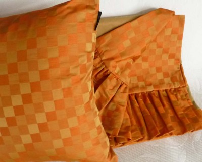 Traditional Abstract Orange pillow and throw