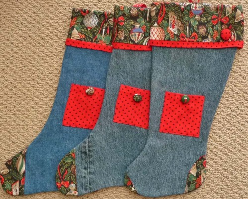 Recycled Jeans Christmas Stockings