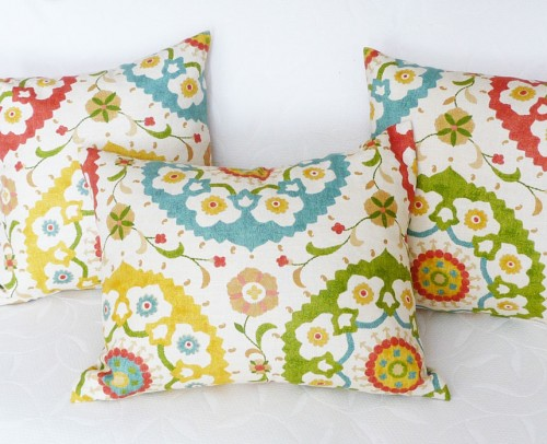 Richloom suzani print pillow in spring colors