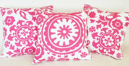 Pink Suzani Pillow Cover