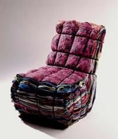 Repurposed Fabric Rag Chair