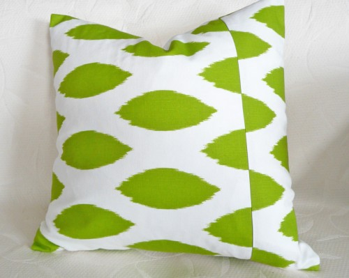 Green and White Decorative Throw Pillow in Ikat Fabric