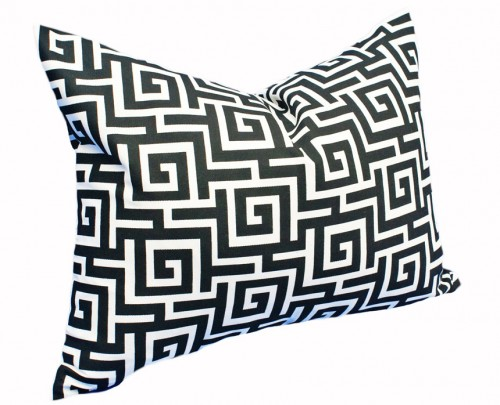 Black and White Greek Key Patio Throw Pillow