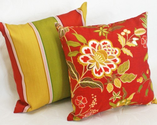 Red Floral Outside Patio Pillows Sale Discount