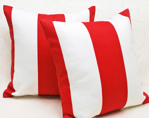Red and white Striped patio Pillows
