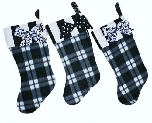 Black and white plaid Christmas stockings