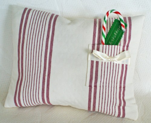 Homespun Christmas Pillow - Cream and Red Ticking