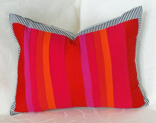 Rainbow Red and Pink Striped Decorative Pillows