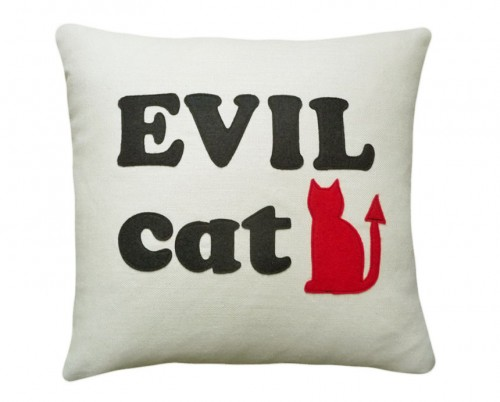 Humorous Evil cat pillow