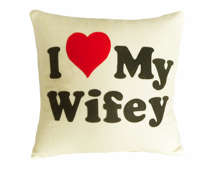 I Love My Wifey Text Pillow
