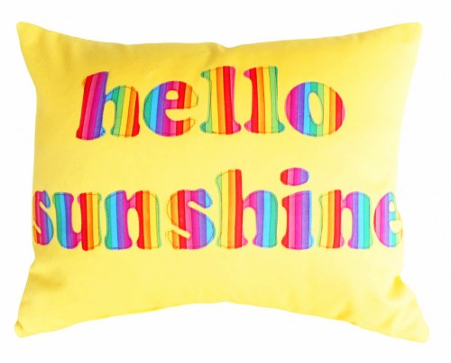Yellow Hello Sunshine Text Pillow