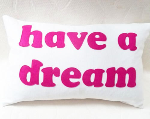 Inspirational throw pillow with words