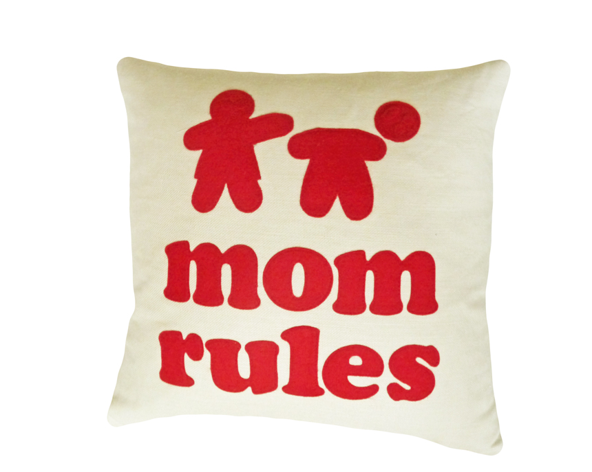 Mom Rules Humorous  text pillow