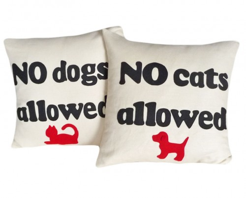 No Cat or dog allowed text pillows
